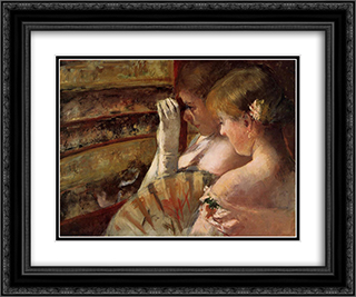 A Corner of the Loge 24x20 Black or Gold Ornate Framed and Double Matted Art Print by Mary Cassatt