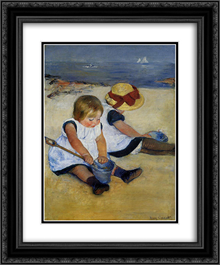 Children on the Shore 20x24 Black or Gold Ornate Framed and Double Matted Art Print by Mary Cassatt