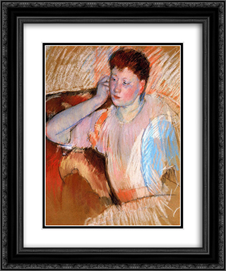 Clarissa, Turned Left, with Her Hand to Her Ear 20x24 Black or Gold Ornate Framed and Double Matted Art Print by Mary Cassatt
