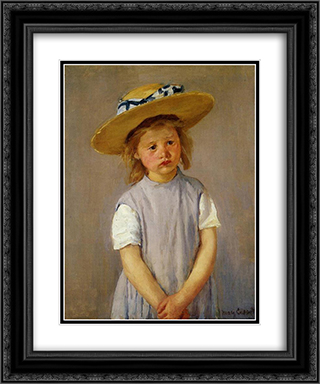 Little Girl in a Big Straw Hat and a Pinnafore 20x24 Black or Gold Ornate Framed and Double Matted Art Print by Mary Cassatt