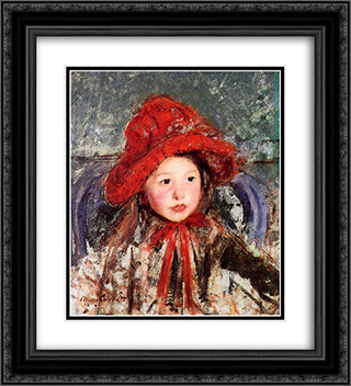 Little Girl in a Large Red Hat 20x22 Black or Gold Ornate Framed and Double Matted Art Print by Mary Cassatt