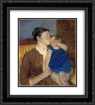 Mother's Goodnight Kiss 20x22 Black or Gold Ornate Framed and Double Matted Art Print by Mary Cassatt