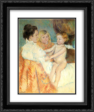 Mother, Sara and the Baby (counterproof) 20x24 Black or Gold Ornate Framed and Double Matted Art Print by Mary Cassatt