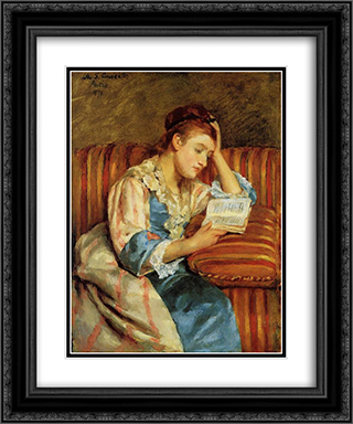Mrs. Duffee Seated on a Striped Sofa, Reading 20x24 Black or Gold Ornate Framed and Double Matted Art Print by Mary Cassatt