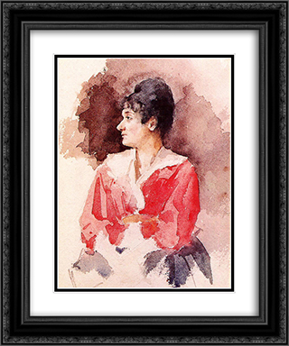 Profile of an Italian Woman 20x24 Black or Gold Ornate Framed and Double Matted Art Print by Mary Cassatt