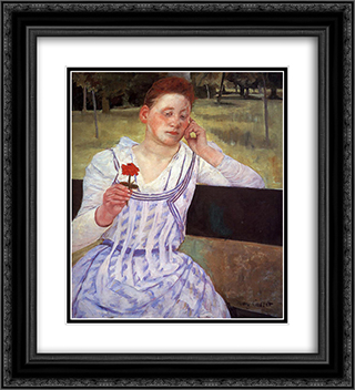 Reverie 20x22 Black or Gold Ornate Framed and Double Matted Art Print by Mary Cassatt
