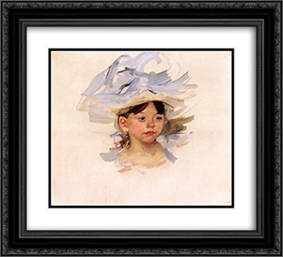 Sketch of 'Ellen Mary Cassatt in a Big Blue Hat' 22x20 Black or Gold Ornate Framed and Double Matted Art Print by Mary Cassatt