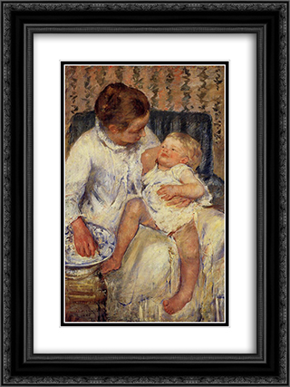 The Child's Bath 18x24 Black or Gold Ornate Framed and Double Matted Art Print by Mary Cassatt