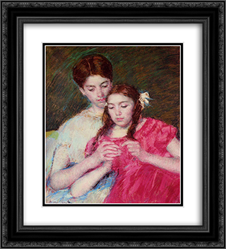 The Crochet Lesson 20x22 Black or Gold Ornate Framed and Double Matted Art Print by Mary Cassatt