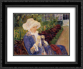 The Garden 24x20 Black or Gold Ornate Framed and Double Matted Art Print by Mary Cassatt