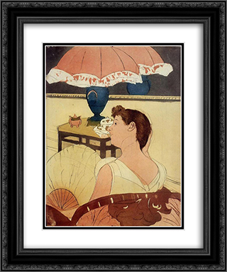 The Lamp 20x24 Black or Gold Ornate Framed and Double Matted Art Print by Mary Cassatt