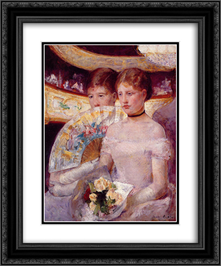 Two Women in a Theater Box 20x24 Black or Gold Ornate Framed and Double Matted Art Print by Mary Cassatt