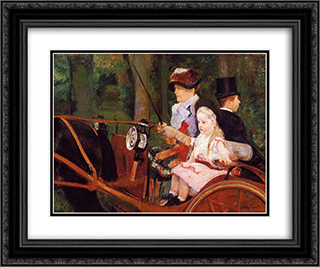 Woman and Child Driving 24x20 Black or Gold Ornate Framed and Double Matted Art Print by Mary Cassatt