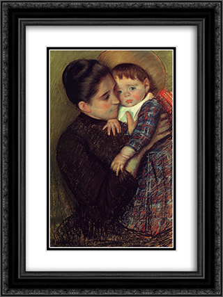 Woman and Her Child 18x24 Black or Gold Ornate Framed and Double Matted Art Print by Mary Cassatt