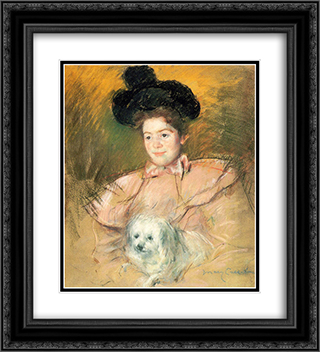 Woman in Raspberry Costume Holding a Dog 20x22 Black or Gold Ornate Framed and Double Matted Art Print by Mary Cassatt