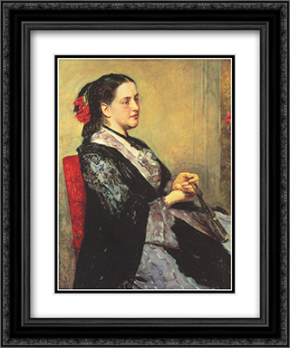 Portrait of a Lady of Seville 20x24 Black or Gold Ornate Framed and Double Matted Art Print by Mary Cassatt