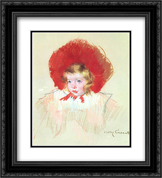 Child with a Red Hat 20x22 Black or Gold Ornate Framed and Double Matted Art Print by Mary Cassatt