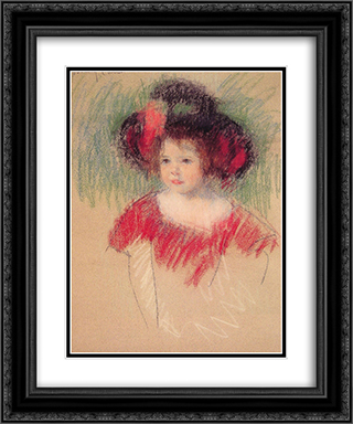 Margot in Big Bonnet and Red Dress 20x24 Black or Gold Ornate Framed and Double Matted Art Print by Mary Cassatt