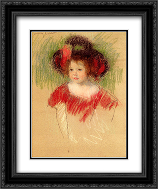 Margot In Big Bonnett And Red Dress 20x24 Black or Gold Ornate Framed and Double Matted Art Print by Mary Cassatt