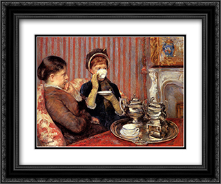 Tea 24x20 Black or Gold Ornate Framed and Double Matted Art Print by Mary Cassatt