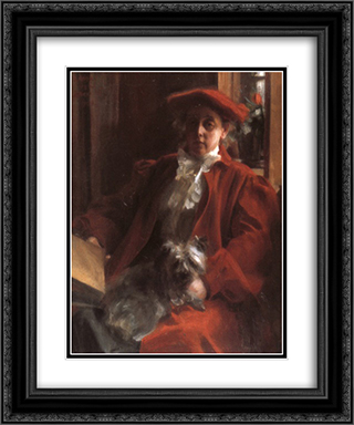 Emma Zorn and Mouche, the dog 20x24 Black or Gold Ornate Framed and Double Matted Art Print by Anders Zorn