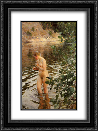 Frileuse 18x24 Black or Gold Ornate Framed and Double Matted Art Print by Anders Zorn