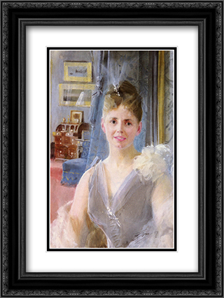 Portrait Of Edith Palgrave Edward In Her London Residence 18x24 Black or Gold Ornate Framed and Double Matted Art Print by Anders Zorn