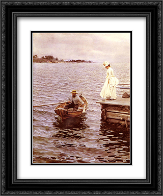 Sommarnoje 20x24 Black or Gold Ornate Framed and Double Matted Art Print by Anders Zorn