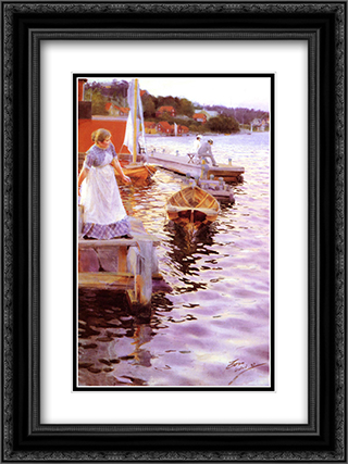 Lappings of the waves 18x24 Black or Gold Ornate Framed and Double Matted Art Print by Anders Zorn