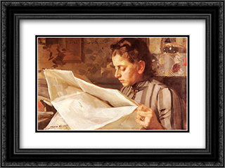 Emma Zorn, Lasande 24x18 Black or Gold Ornate Framed and Double Matted Art Print by Anders Zorn