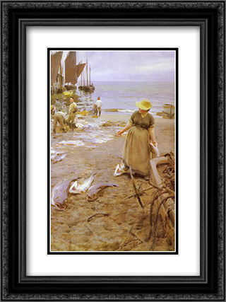 Fiskmarknad I St. Ives 18x24 Black or Gold Ornate Framed and Double Matted Art Print by Anders Zorn