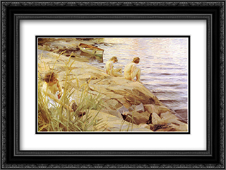 Out 24x18 Black or Gold Ornate Framed and Double Matted Art Print by Anders Zorn