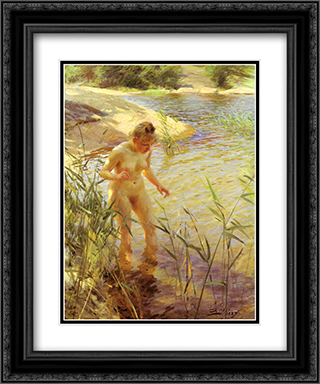 Reflexions 20x24 Black or Gold Ornate Framed and Double Matted Art Print by Anders Zorn