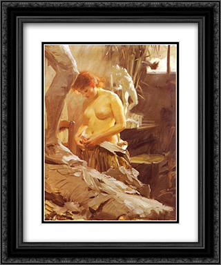 I Wikstroms Atelje 20x24 Black or Gold Ornate Framed and Double Matted Art Print by Anders Zorn