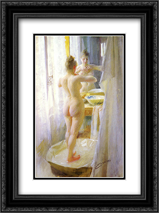 The tub 18x24 Black or Gold Ornate Framed and Double Matted Art Print by Anders Zorn