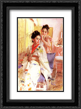 The misses Salomon 18x24 Black or Gold Ornate Framed and Double Matted Art Print by Anders Zorn