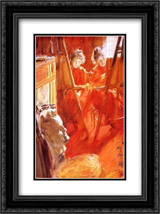 Les Demoiselles Schwartz 18x24 Black or Gold Ornate Framed and Double Matted Art Print by Anders Zorn