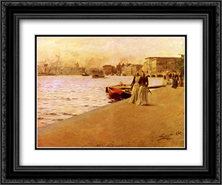Utsikt Fran Skeppsholmskajen 24x20 Black or Gold Ornate Framed and Double Matted Art Print by Anders Zorn