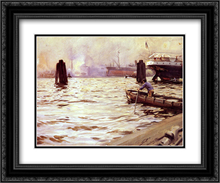 Hamburgs Hamn 24x20 Black or Gold Ornate Framed and Double Matted Art Print by Anders Zorn