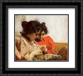 Spetssom 22x20 Black or Gold Ornate Framed and Double Matted Art Print by Anders Zorn