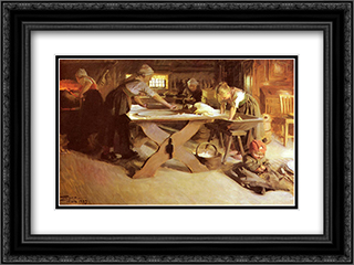 Brodbaket 24x18 Black or Gold Ornate Framed and Double Matted Art Print by Anders Zorn