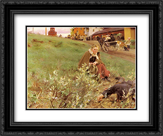 The Mora Fair 24x20 Black or Gold Ornate Framed and Double Matted Art Print by Anders Zorn