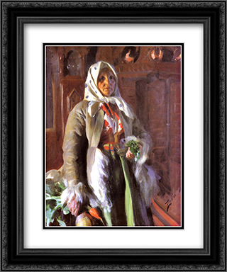 Mona 20x24 Black or Gold Ornate Framed and Double Matted Art Print by Anders Zorn