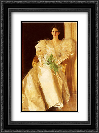 Portrait Of Mrs. Eben Richards 18x24 Black or Gold Ornate Framed and Double Matted Art Print by Anders Zorn