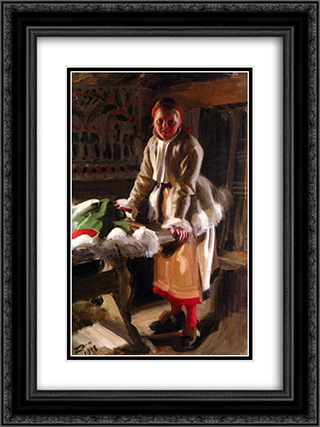 Morakulla I Vinterdrakt 18x24 Black or Gold Ornate Framed and Double Matted Art Print by Anders Zorn