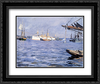 The Battleship Baltimore In Stockholm Harbor 24x20 Black or Gold Ornate Framed and Double Matted Art Print by Anders Zorn