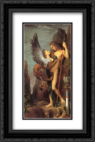 Oedipus and the Sphinx 16x24 Black or Gold Ornate Framed and Double Matted Art Print by Gustave Moreau