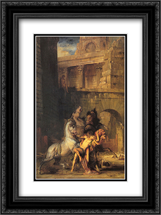 Diomedes Devoured by his Horses 18x24 Black or Gold Ornate Framed and Double Matted Art Print by Gustave Moreau