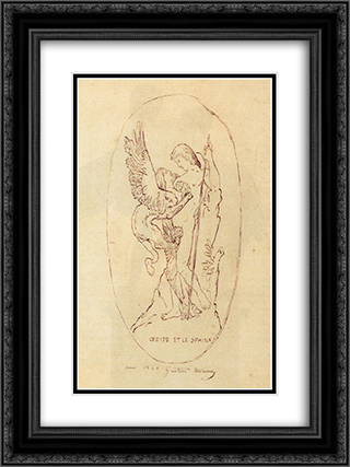 Oedipe Et Le Sphinx 18x24 Black or Gold Ornate Framed and Double Matted Art Print by Gustave Moreau