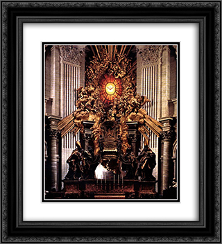 The Chair of Saint Peter 20x22 Black or Gold Ornate Framed and Double Matted Art Print by Gian Lorenzo Bernini